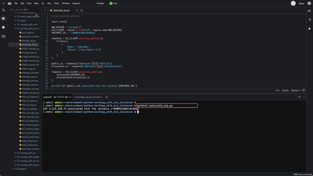 35. Working with EC2 Instances using Boto3 in Python - Associate EIP