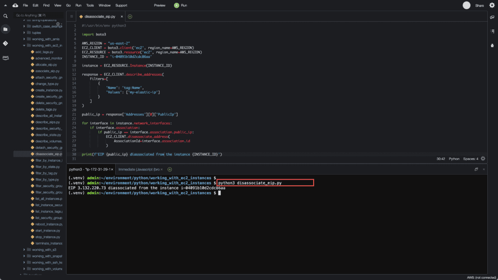 36. Working with EC2 Instances using Boto3 in Python - Disassociate EIP