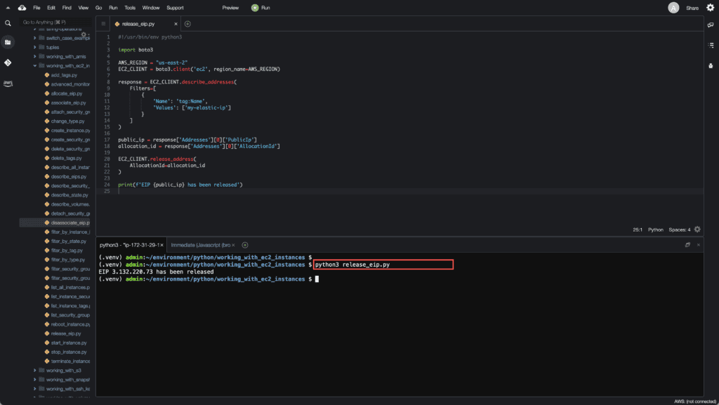 37. Working with EC2 Instances using Boto3 in Python - Release EIP