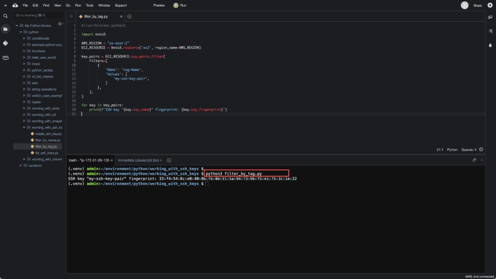 4. Working with EC2 Instances using Boto3 in Python - Searching for SSH key by Tag