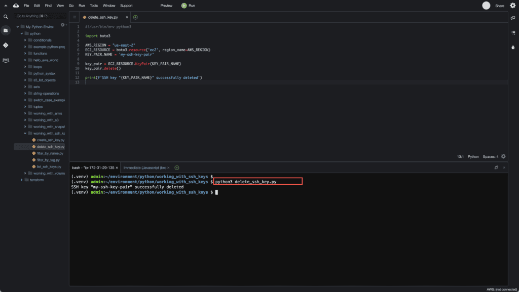 5. Working with EC2 Instances using Boto3 in Python - Deleting SSH key