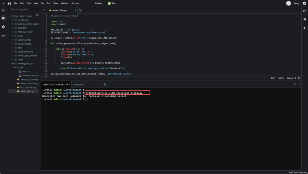 8. Working with S3 in Python - How to upload generated file object to S3 bucket using Boto3
