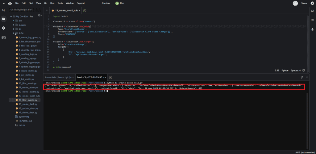 Creating CloudWatch event rule using Boto3: Output
