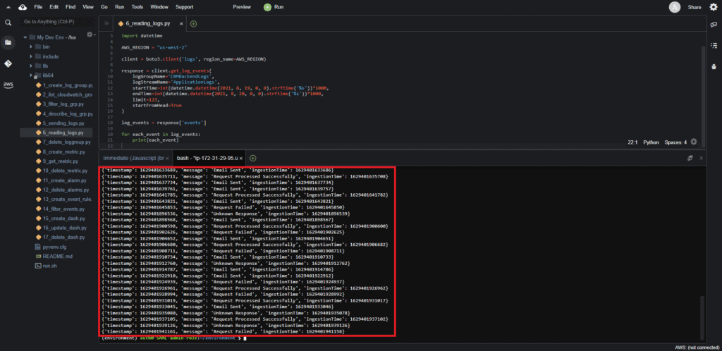 Reading logs from CloudWatch using Boto3: Output