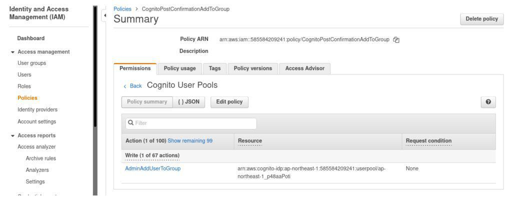 Example of created IAM policy in the AWS IAM console