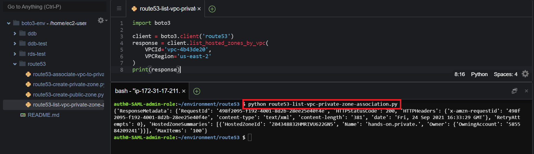 Listing private hosted zones attached to a VPC