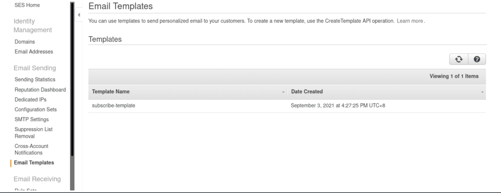Created SES email template